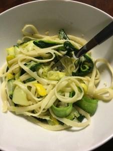 yellow squash, zucchini + cilantro pasta   running on happy