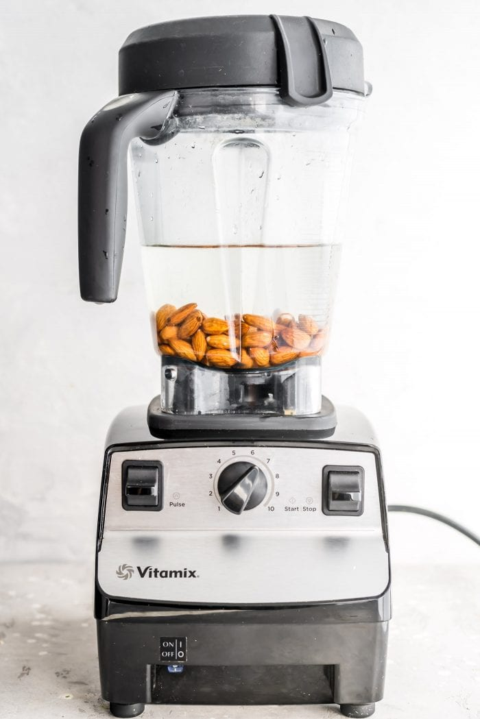 Almonds and water in a Vitamix.
