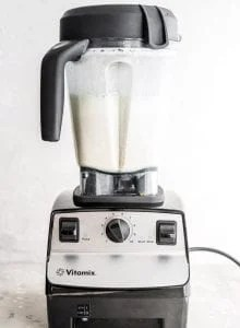 Homemade almond milk in a Vitamix.