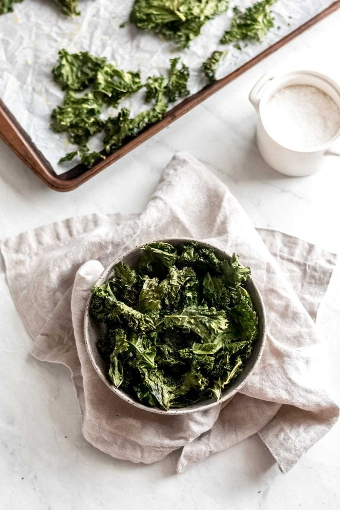 Bowl of homemade kale chips.