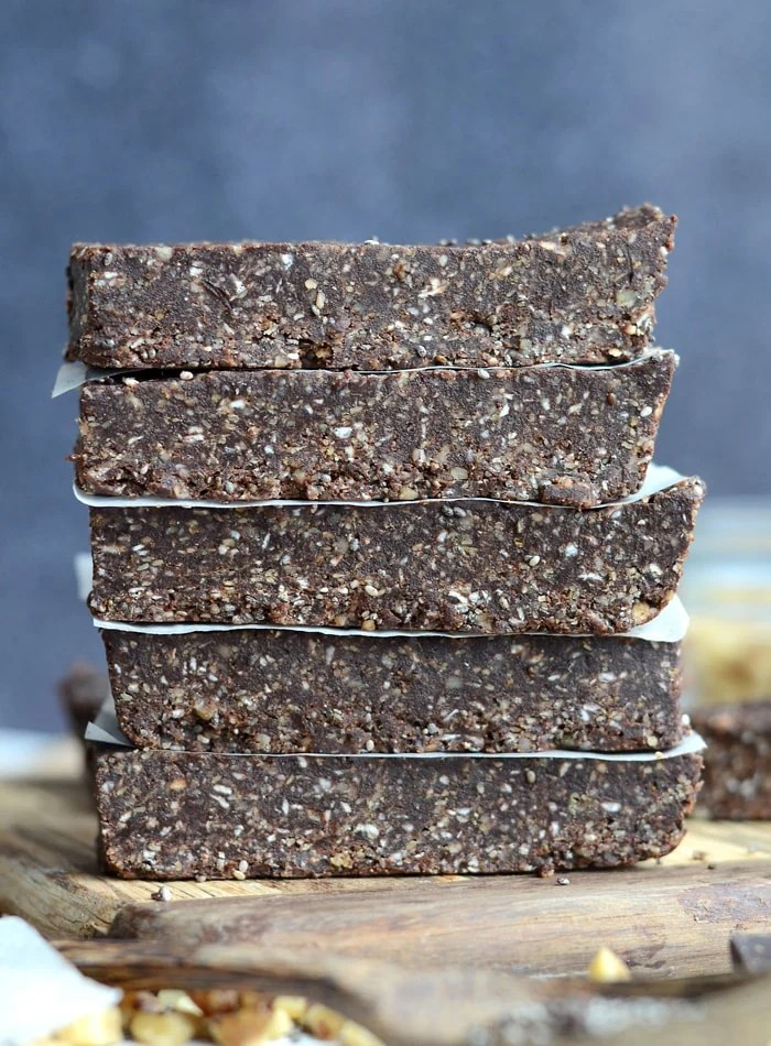 Healthy Vegan No-Bake Chocolate Chia Energy Bars