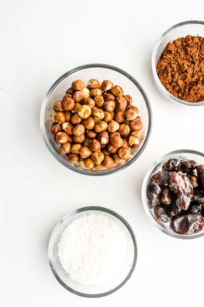 Ingredients for making raw vegan hazelnut truffles.