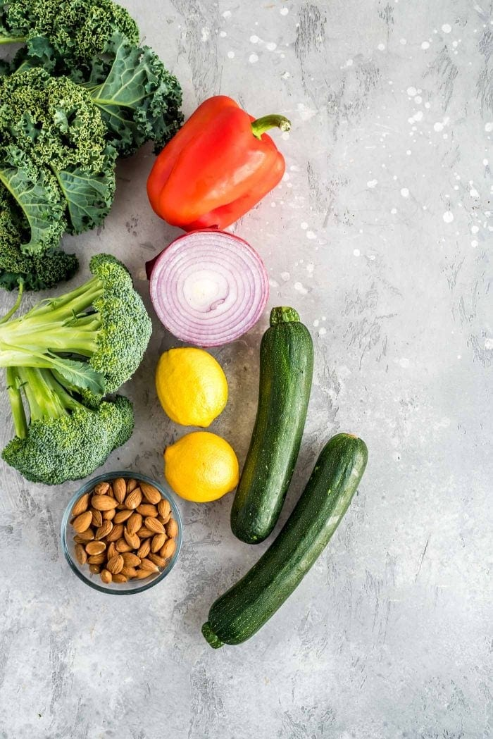 Ingredients for Vegan Chickpea Salad with Broccoli, Zucchini and Bell Pepper