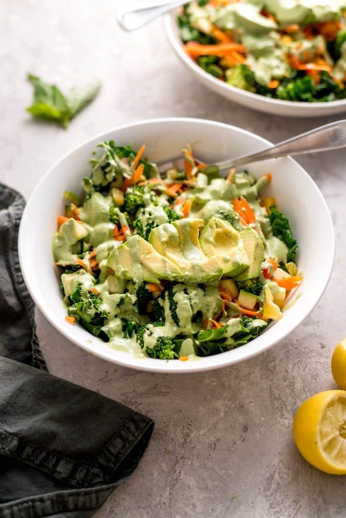 Healthy Vegan Avocado Kale Salad Recipe