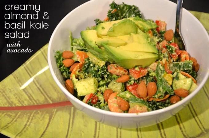 Creamy Almond and Basil Kale Salad with Avocado (Raw & Vegan)