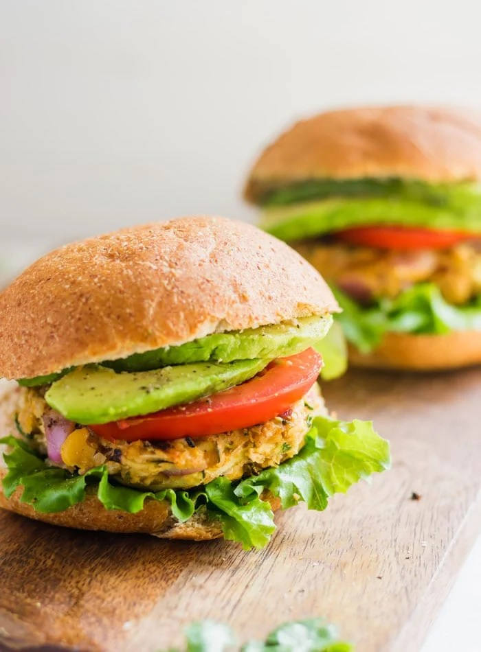 Vegan Spicy Chickpea Veggie Burgers - Running on Real Food