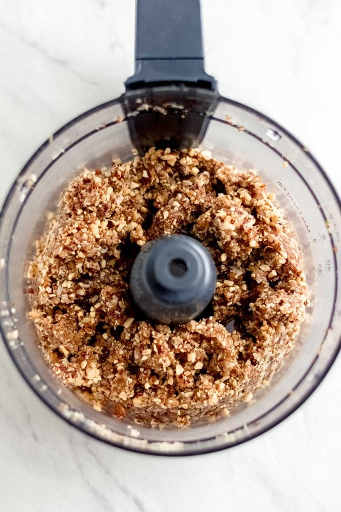 Blended crust for no-bake cheesecake in a food processor.