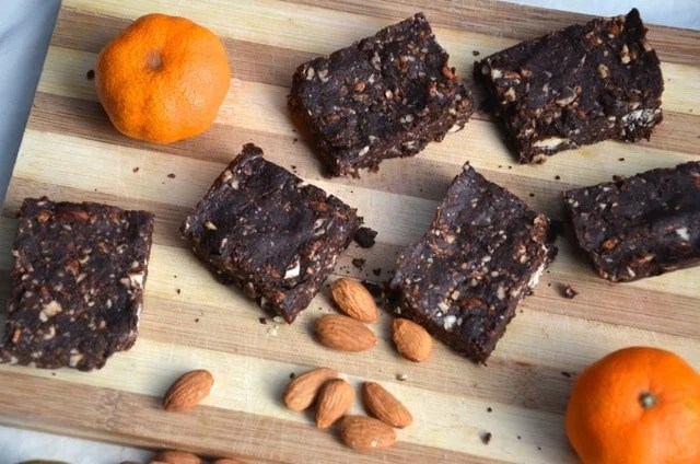 Fudgy Vegan No-Bake Brownies with a Hint of Orange