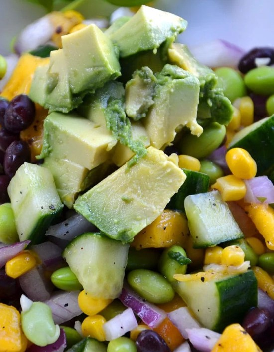 High- Protein Edamame Mango Salad with Basil Vinaigrette