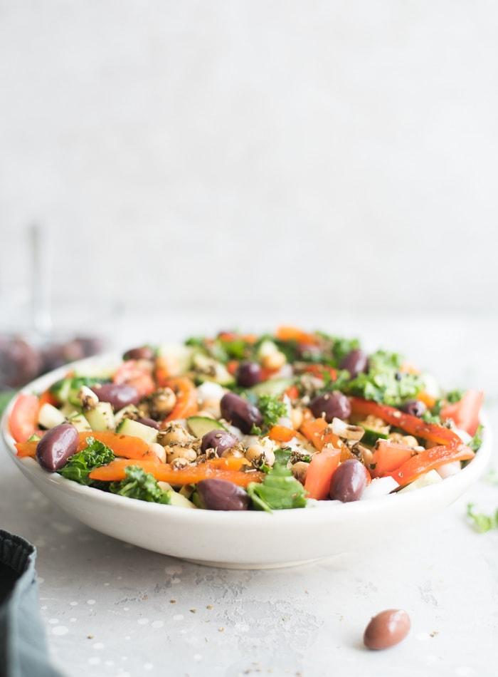 Healthy Mediterranean Kale Salad - Running on Real Food