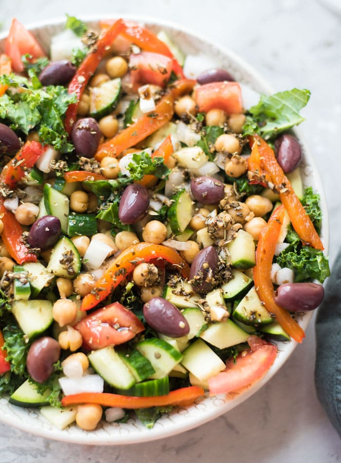 Healthy Mediterranean Kale Salad Recipe - Running on Real Food