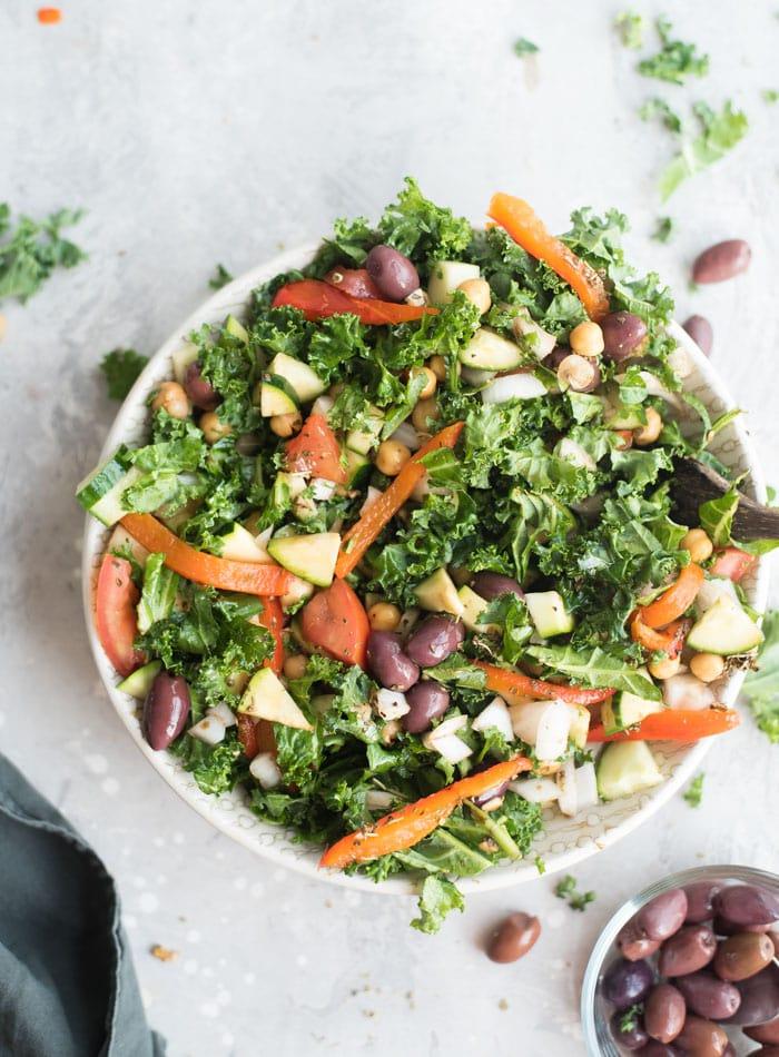 Gluten-Free and Vegan Mediterranean Kale Salad Recipe - Running on Real Food