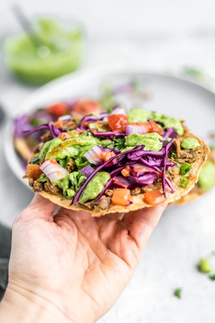Vegan Lentil Tostada with Avocado Cilantro Sauce and Cabbage