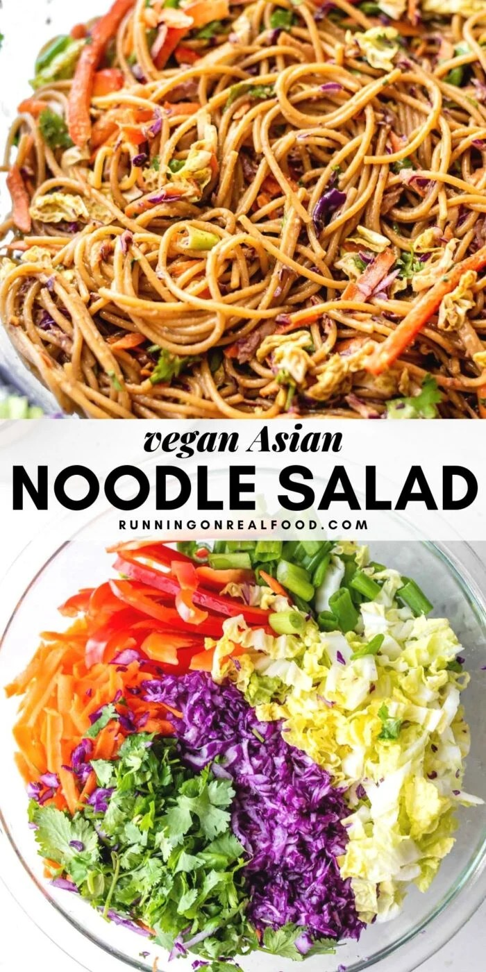 Pinterest graphic with an image and text for cold Asian noodle salad.