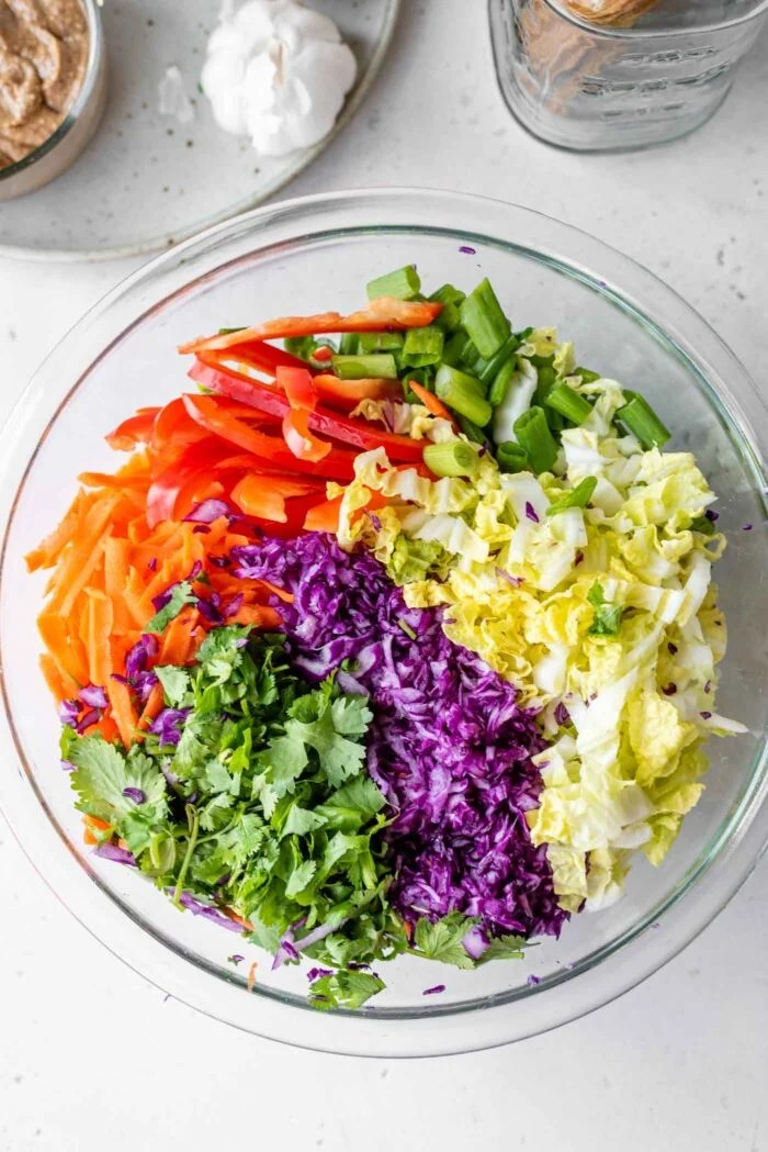 Chopped scallions, cabbage, carrot and cilantro in a large mixing bowl.
