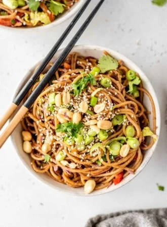 A bowl of noodles topped with green onions, peanuts and cilantro with a set of chopsticks sitting on the bowl.