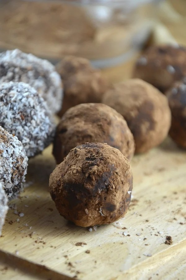 Chocolate Coconut Energy Balls with Almonds - Vegan, No-Bake