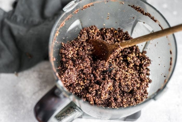 Blended mixture for no-bake chocolate cashew coconut balls.