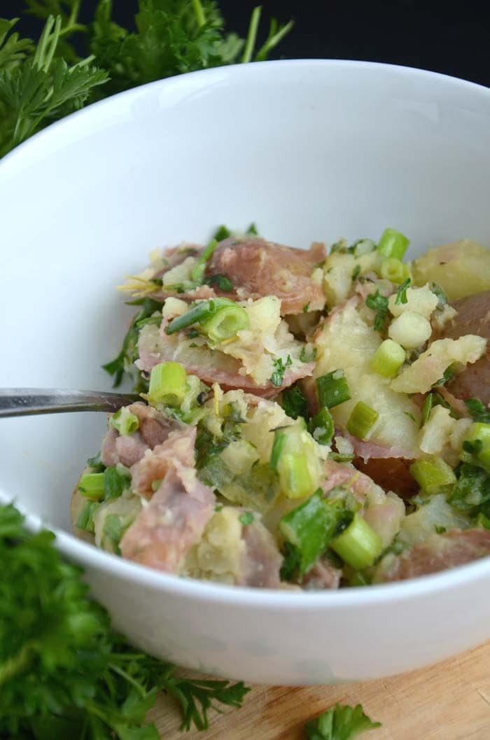 Hot Potato Salad with Scallions and Herb Vinaigrette - Vegan, Gluten-Free