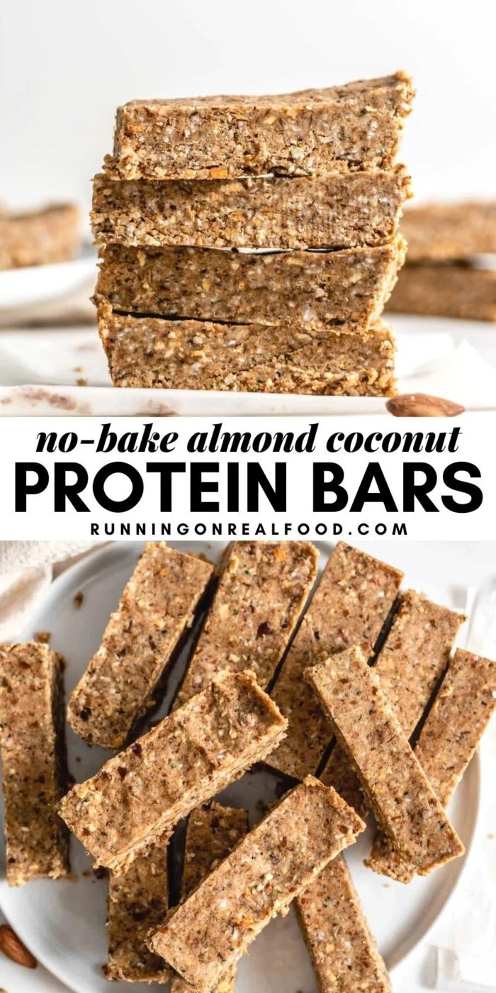 Pinterest graphic with an image and text for no-bake almond coconut protein bars.