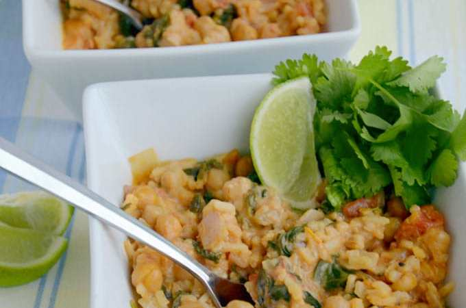 Curried Coconut Chickpeas and Spinach