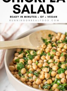 Pinterest graphic with an image and text for a simple chickpea salad with lemon and garlic.