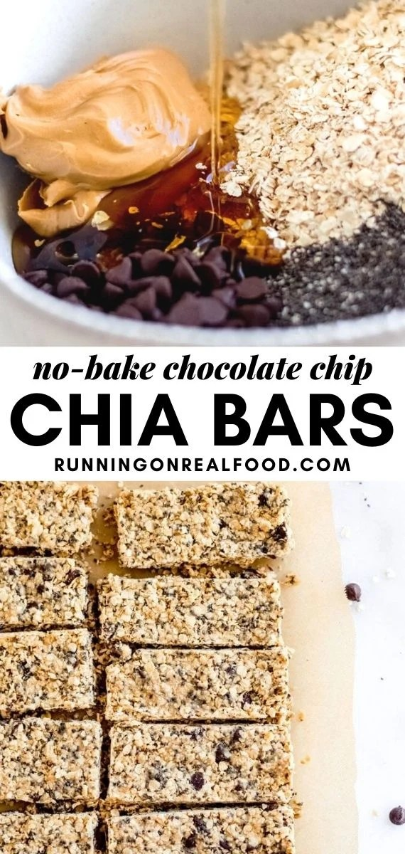 Pinterest graphic with an image and text for chocolate chip chia seed bars.
