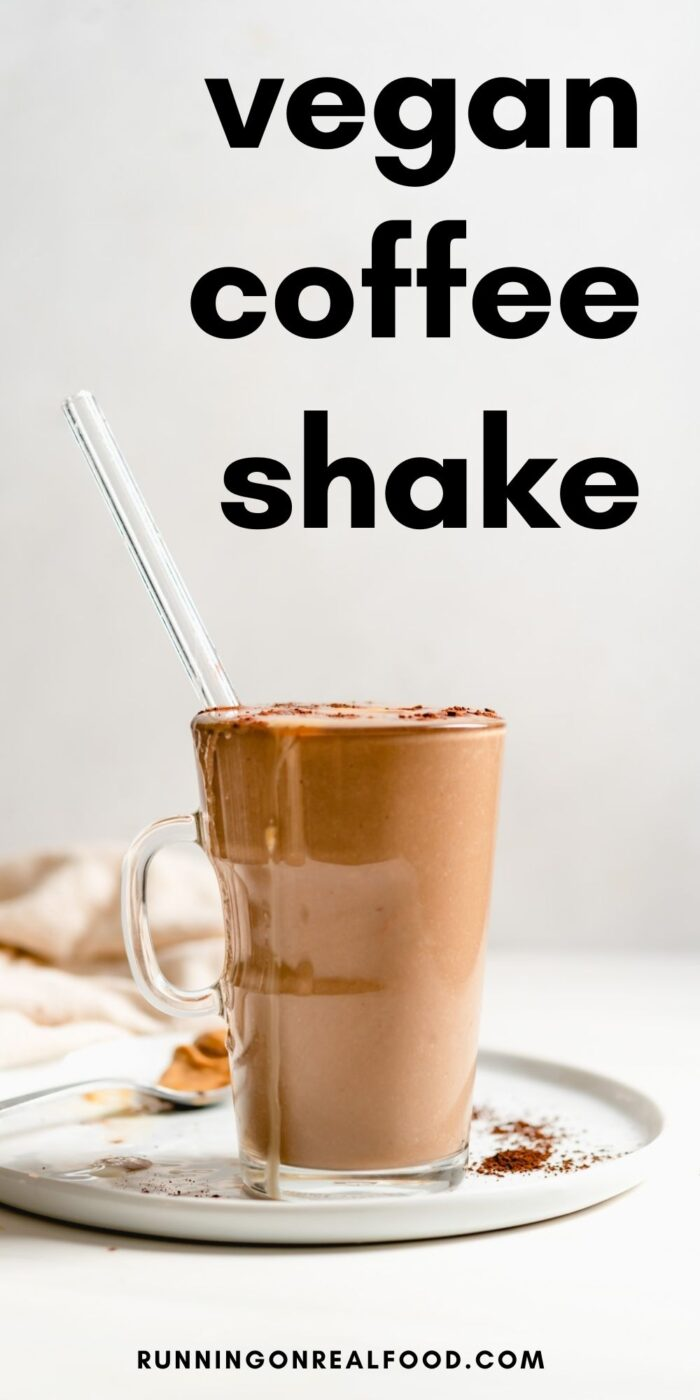 Pinterest graphic with an image and text for vegan coffee smoothie.