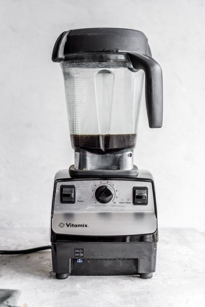 Black brewed coffee in a Vitamix blender.