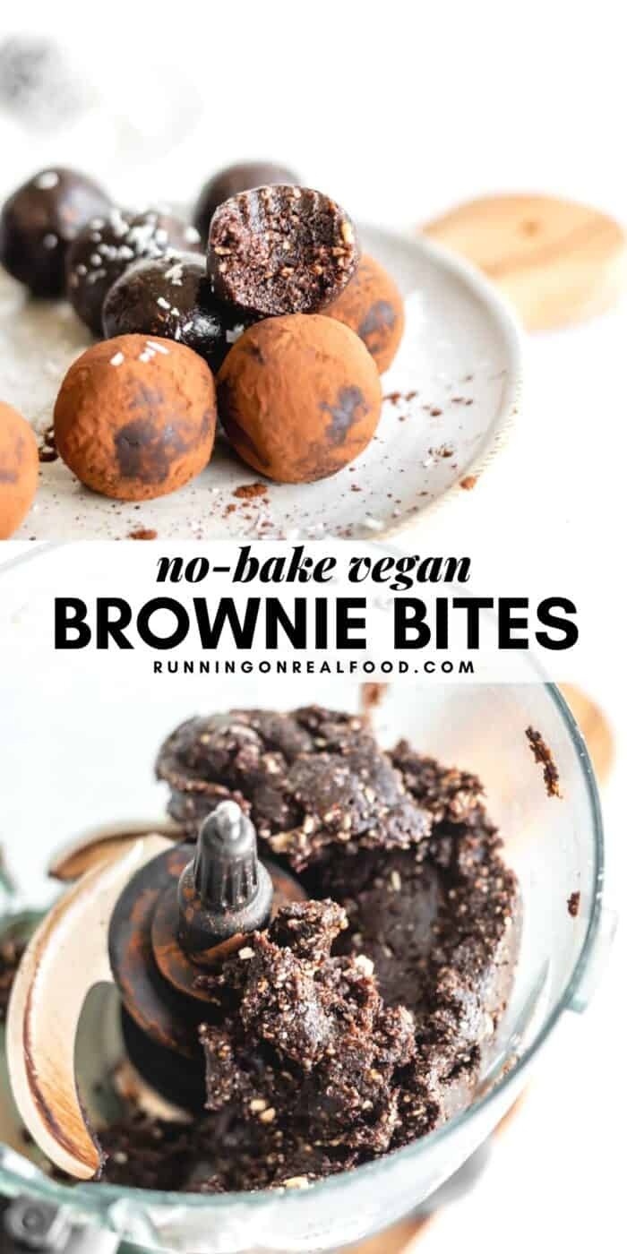Pinterest graphic with an image and text for no-bake vegan brownie bites.