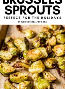 Pinterest graphic with image of roasted brussel sprouts and text overlay.