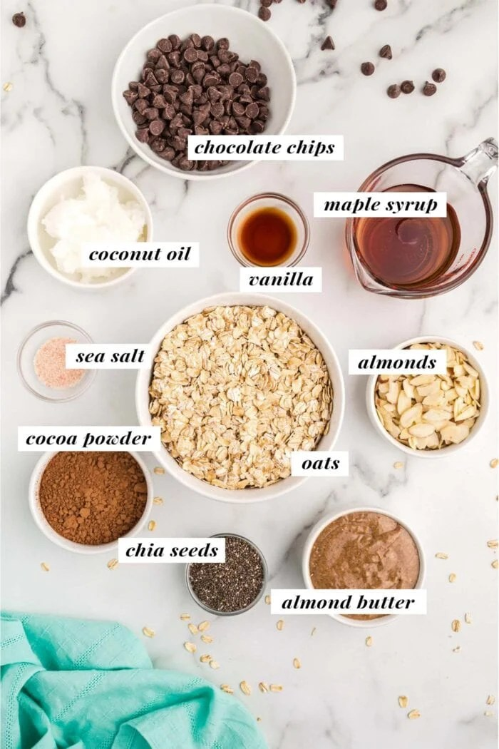 Visual of all ingredients needed for making a homemade chocolate granola recipe. Ingredients are labelled with text overlay.