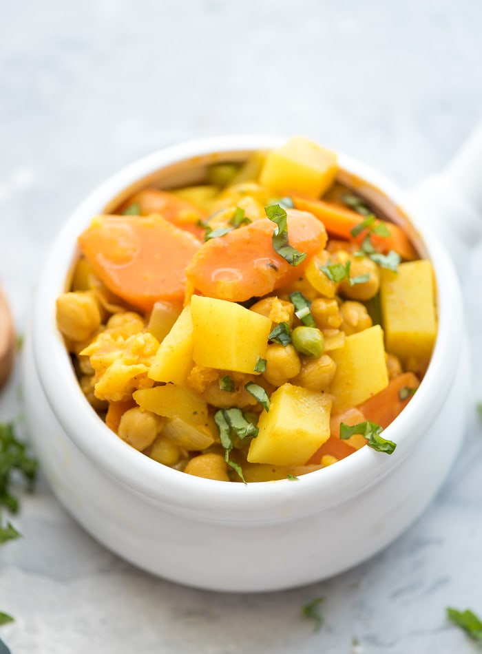 Healthy Vegan Curried Chickpea Potato Stew - Running on Real Food