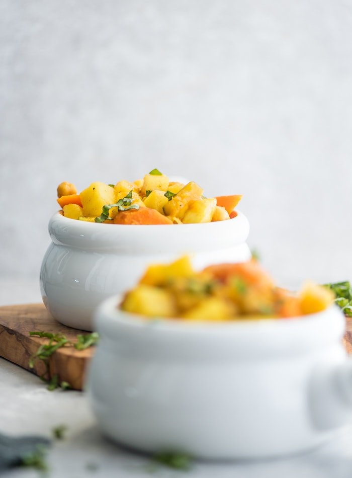 Vegan Curried Chickpea Potato Stew - Running on Real Food