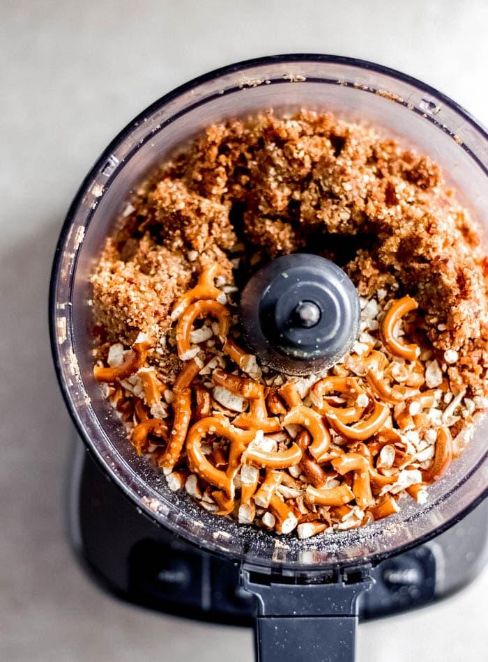 Make the Peanut Butter Pretzel Bars Dough in a Food Processor