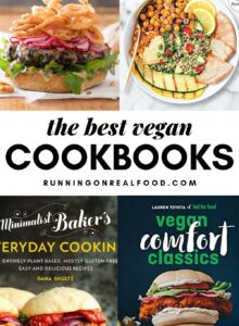 Pinterest graphic with a collage of cookbooks and text overlay reading the best vegan cookbooks.