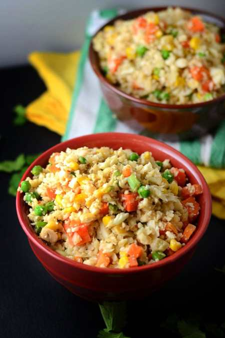 Vegan Cauliflower Fried Rice - Gluten-Free, Low Carb, Healthy, High Fibre