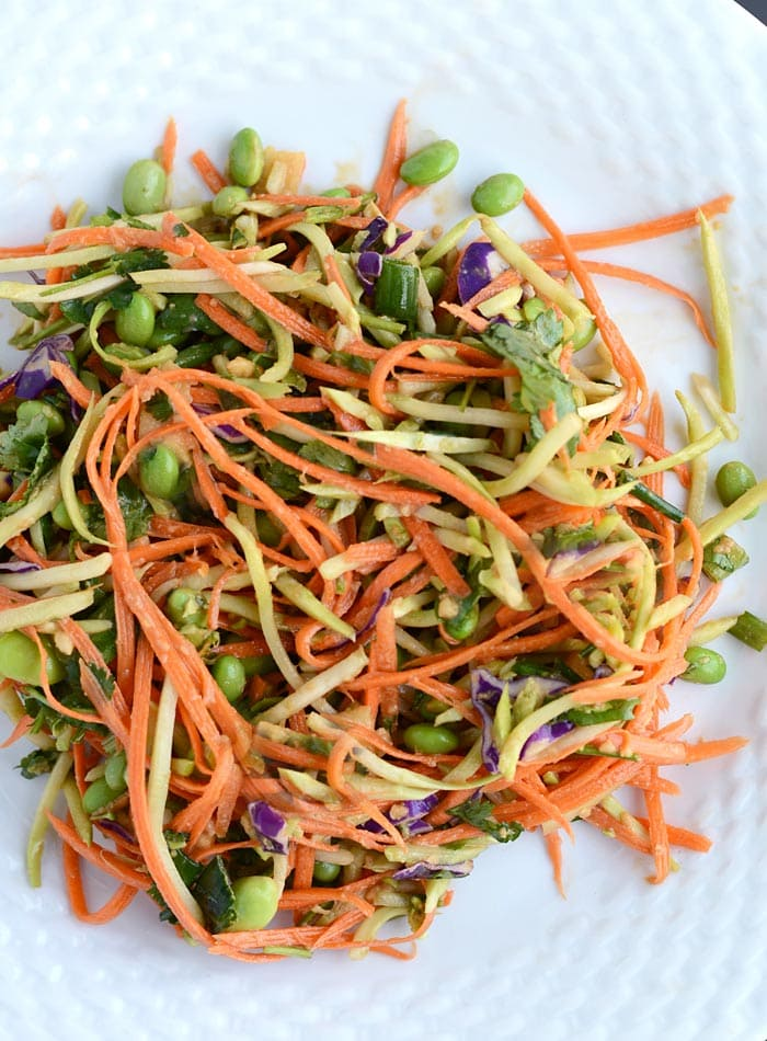 Carrot and Broccoli Slaw with Low Fat Peanut Sauce - Vegan, Gluten-Free, Low Carb, Oil-Free, Healthy