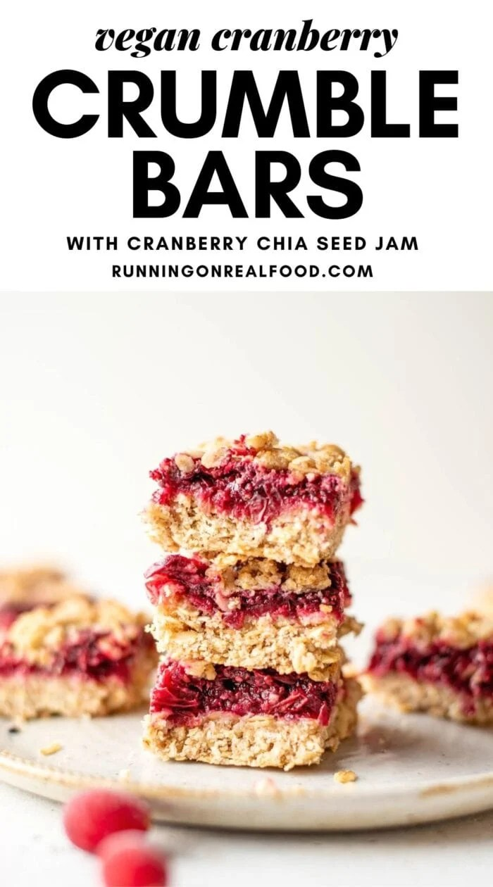 Pinterest graphic with an image and text for vegan cranberry crumble bars.