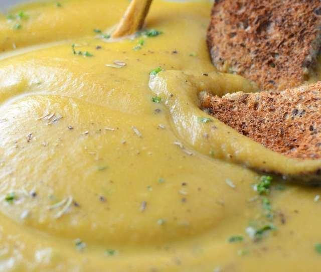 Creamy Roasted Garlic Cauliflower Soup Vegan Low Fat Healthy