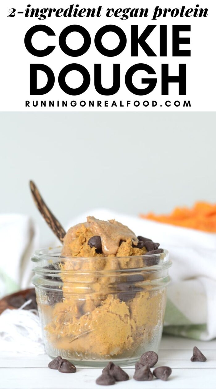 Pinterest graphic with an image and text for protein cookie dough.