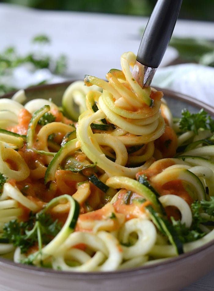 Roasted Garlic and Red Pepper Zoodles - Low Fat, Low Carb, Vegan