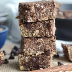A stack of chocolate oatmeal bars.