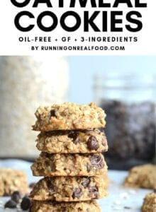 Pinterest graphic with an image of cookies and text overlay reading Flourless Oatmeal Cookies.