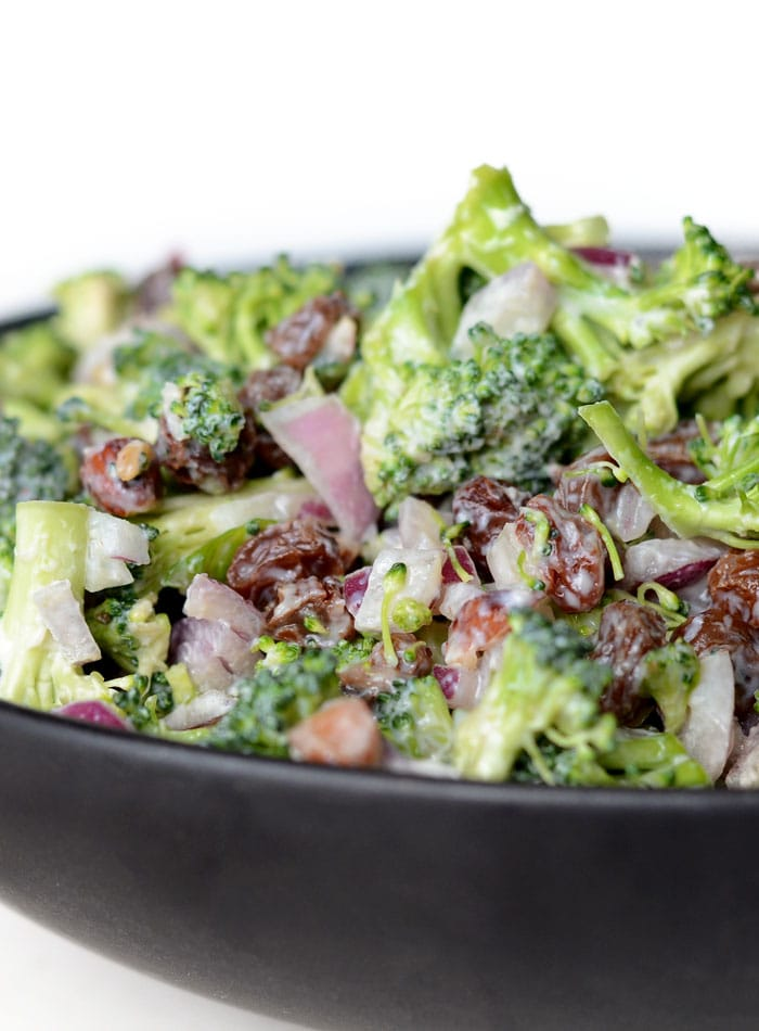 Healthy Vegan Broccoli Salad with Raisins and Almonds | Running on Real Food