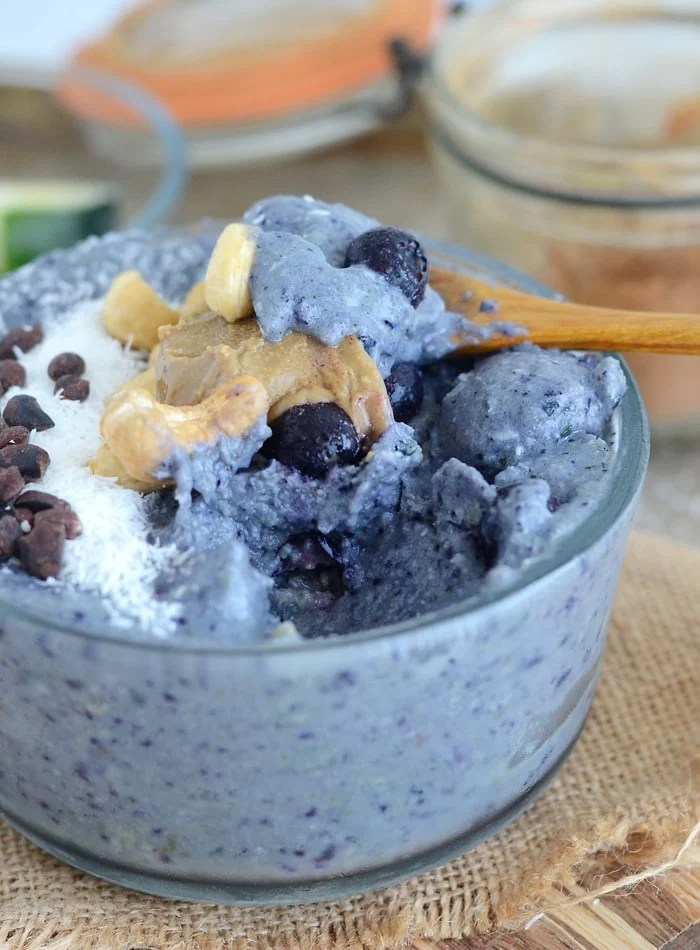 Low Sugar Blueberry Coconut Smoothie Bowl with Cauliflower and Zucchini