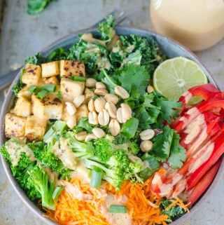 Crispy Tofu Kale Salad with Creamy Coconut Peanut Dressing   Vegan and Gluten-free   Running on Real Food