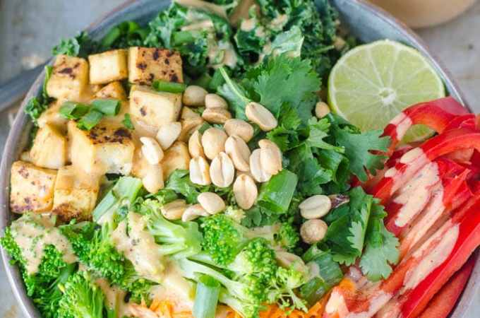 Tofu Kale Salad with Coconut Peanut Dressing