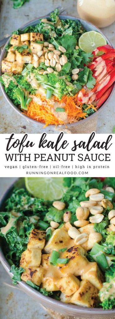 Crispy Tofu Kale Salad with Creamy Coconut Peanut Dressing | Vegan and Gluten-free | Running on Real Food