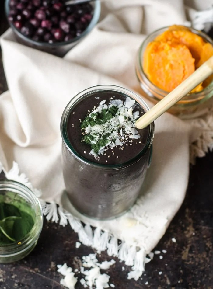 Chocolate Blueberry Sweet Potato Smoothie with Chaga and Cacao   Vegan